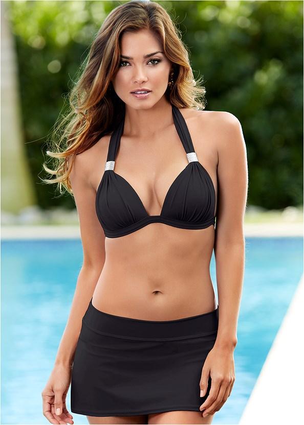 Mid Rise Swim Skirt Bikini Bottom,Goddess Enhancer Push Up Halter Top