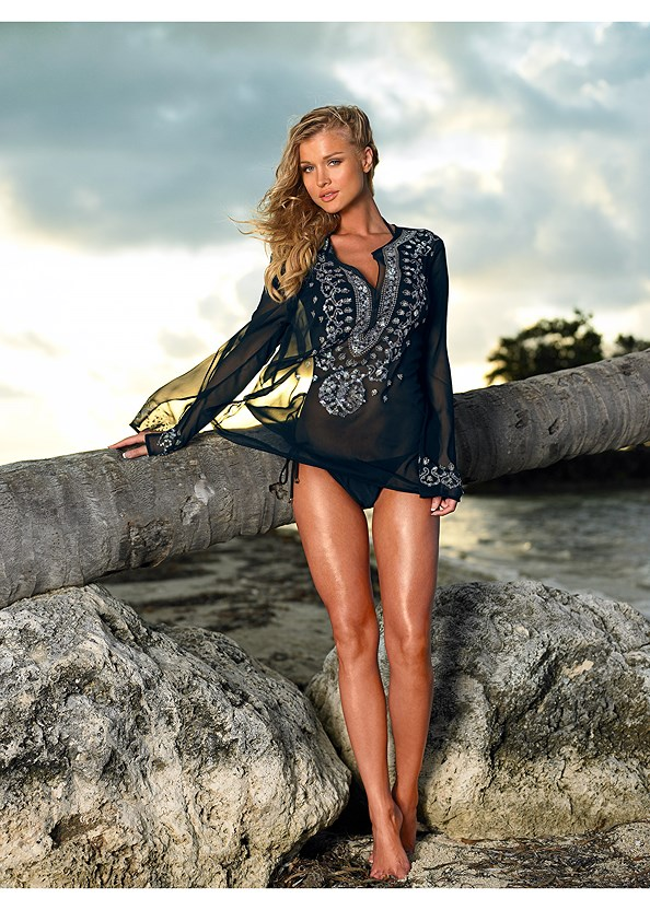 Sequin Tunic,Triangle String Bikini Top,String Side Bikini Bottom