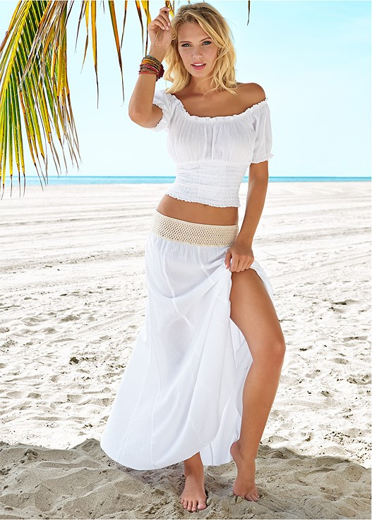 GAUZE CROCHET WAIST SKIRT,OFF SHOULDER GAUZE CROP TOP,PANAMA HAT