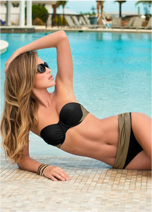 PUSH UP BRA TOP,COLOR BLOCK MID RISE BOTTOM,RUCHED WAIST BIKINI BOTTOM,LOW RISE BIKINI BOTTOM,BELL SLEEVE COVER-UP