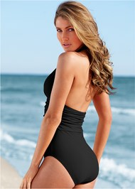 Back View Slimming Halter One-Piece