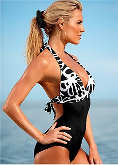 slimming halter one-piece