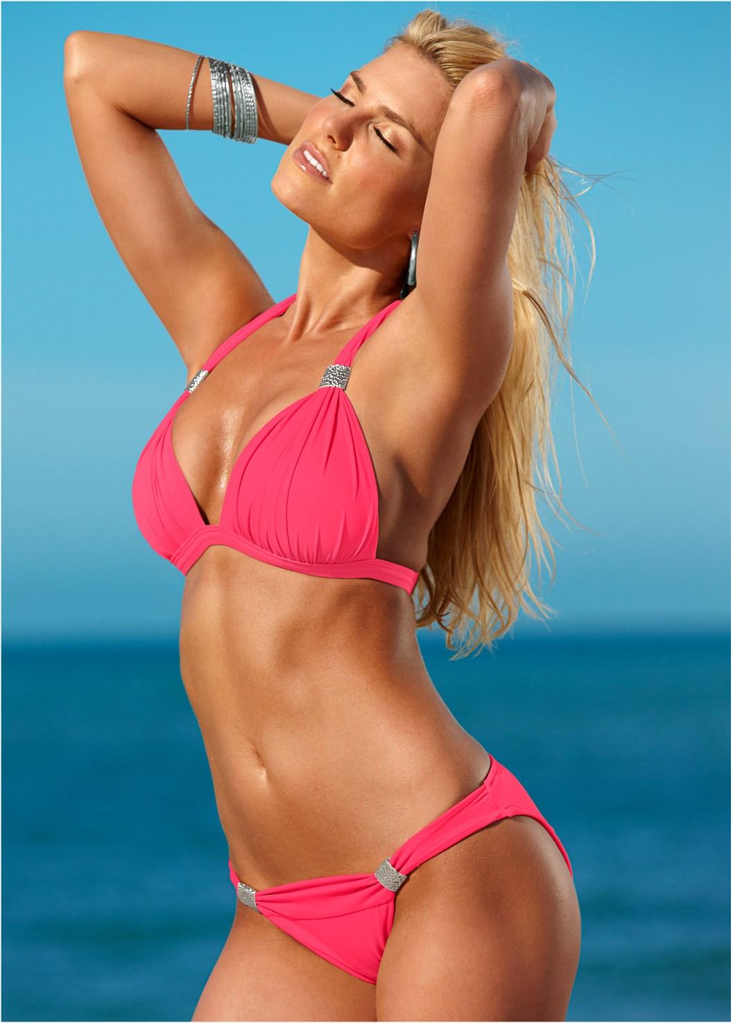 Goddess Low Rise Bottom,Goddess Enhancer Push Up Halter Top,Lovely Lift Wrap Bikini Top