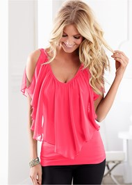 Front view Cold Shoulder Flutter Top