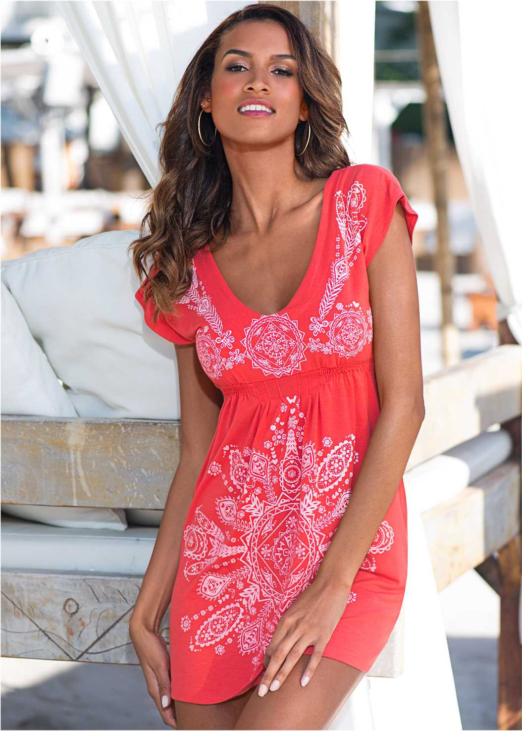 Print Dress,Scoop Front Bikini Bottom