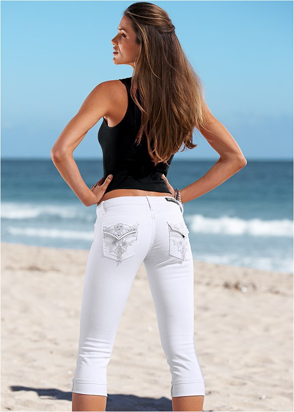Back Detail Capri Jeans,Seamless Rib Tank,Mid Rise Slimming Stretch Jeggings