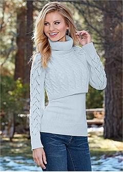 layered turtleneck sweater