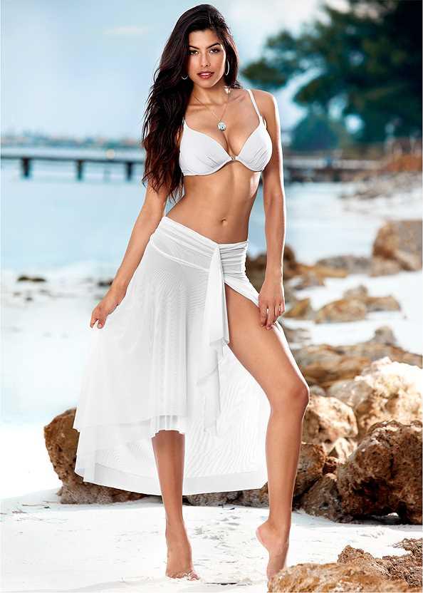 Mesh Dress/Skirt,Venus Enhancer Halter Top,Low Rise Classic Bikini Bottom ,Scoop Front Classic Bikini Bottom