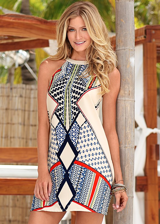 PRINTED DRESS,STUDDED GLADIATOR WEDGE