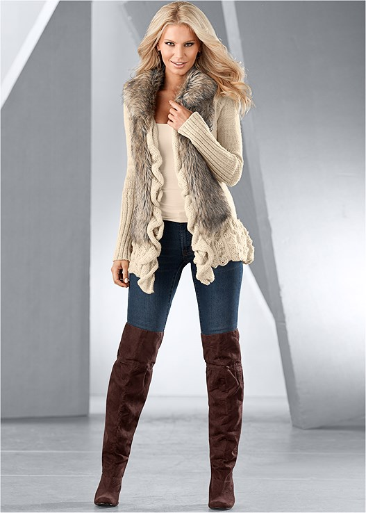 FAUX FUR RUFFLE SWEATER,SEAMLESS CAMI,COLOR SKINNY JEANS,OVER THE KNEE BOOTS,BOW DETAIL BOOT,LUREX DETAIL SCARF,PEARL KNIT BEANIE