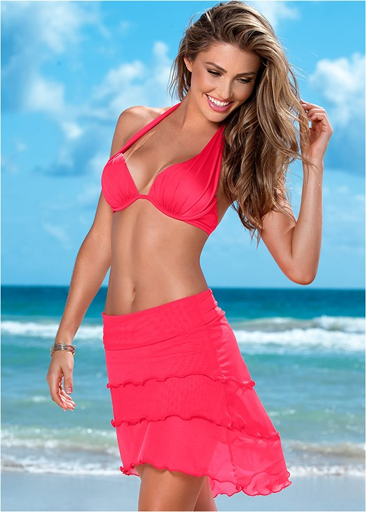HIGH LOW MESH SKIRT,MARILYN PUSH UP BRA TOP,SCOOP FRONT BIKINI BOTTOM