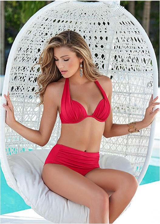 MARILYN PUSH UP BRA TOP,RUCHED HIGH WAIST BOTTOM,HIGH WAIST MODERATE BOTTOM,SKIRTED SWIM BIKINI BOTTOM,HOODED POCKET COVER-UP