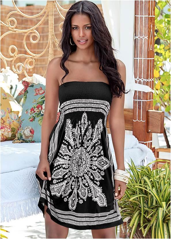 Bandeau Dress,Mid Rise Strappy Bottom,Applique Bandeau One-Piece