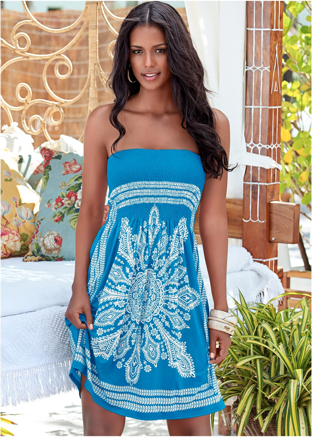 Bandeau Dress,Shapely Ruched Bandeau Top,Slit Side Skirted Bottom