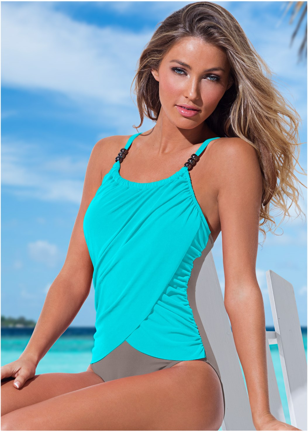 Slimming Draped One-Piece,Lace Detail Cover-Up Romper