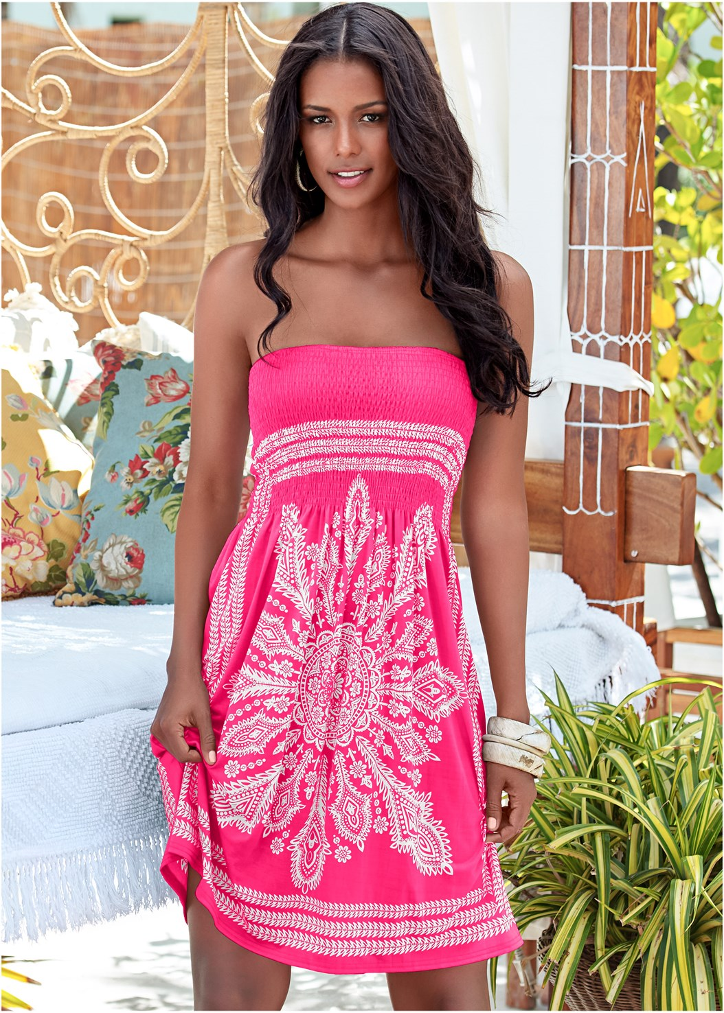 Bandeau Dress,Strappy Low Rise Bottom,Grommet Lace Up One-Piece,Studded Flip Flops