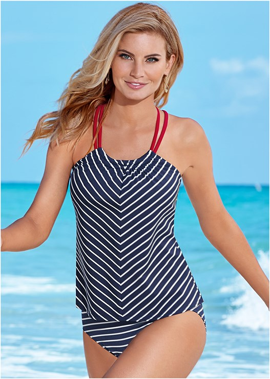 MID RISE BOTTOM,MID RISE FULL CUT BOTTOM,SIREN TANKINI TOP,SHARKBITE HEM TANKINI TOP