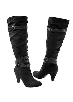 slouchy layered strap boots