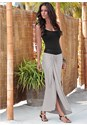 Front view Faux Leather Waistband Detail Maxi Skirt