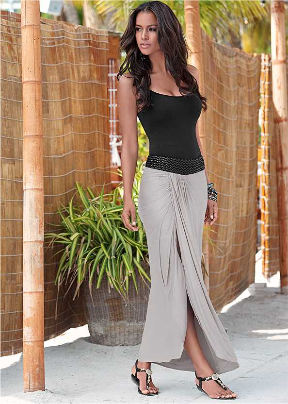 Faux Leather Waistband Detail Maxi Skirt,Basic Cami Two Pack