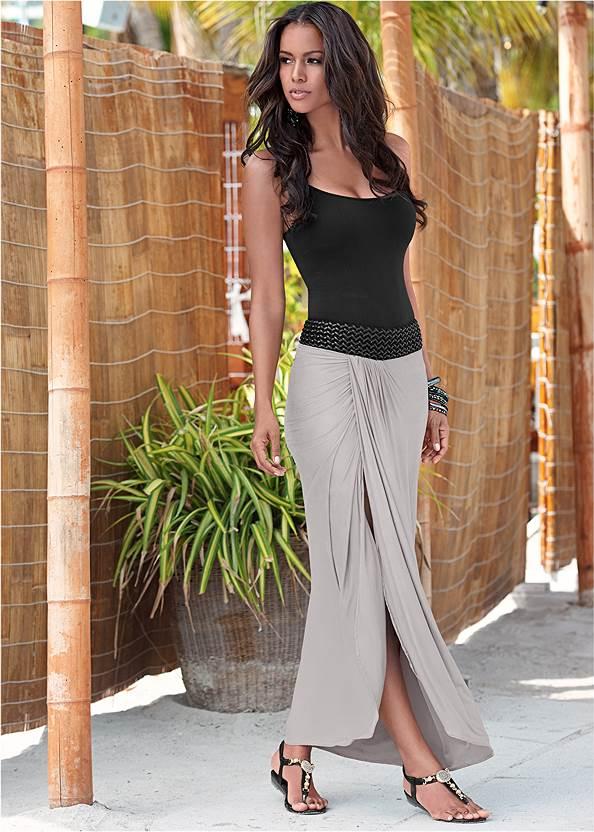 Faux Leather Waistband Detail Maxi Skirt,Basic Cami Two Pack,Double Strap Printed Sandal,Beaded Fringe Medallion Earrings,Net Bag