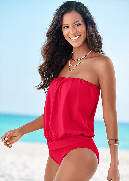 BLOUSON TANKINI TOP,HIGH WAIST MODERATE BOTTOM,HIGH WAIST FULL CUT BOTTOM