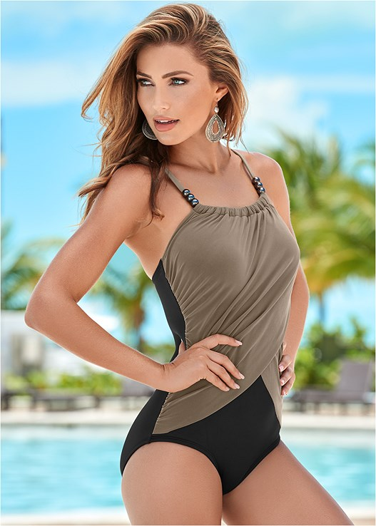 b673db08af SLIMMING DRAPED ONE-PIECE Swimsuit in Sahara | VENUS