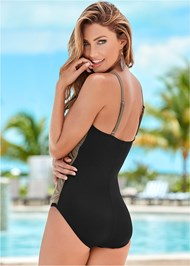 Back view Slimming Draped One-Piece