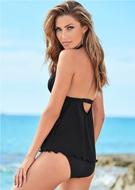Back view Goddess Ruffle Hem Halter Tankini Top