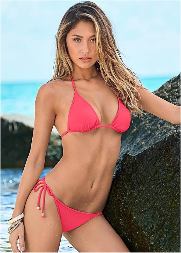 Triangle String Bikini Top,String Side Bikini Bottom,Banded Moderate Swim Bottom,Low Rise Classic Bikini Bottom ,Strappy Low Rise Bottom,Bold Bottom,Embroidered Cover-Up Dress,Rhinestone Flip Flop Sandal