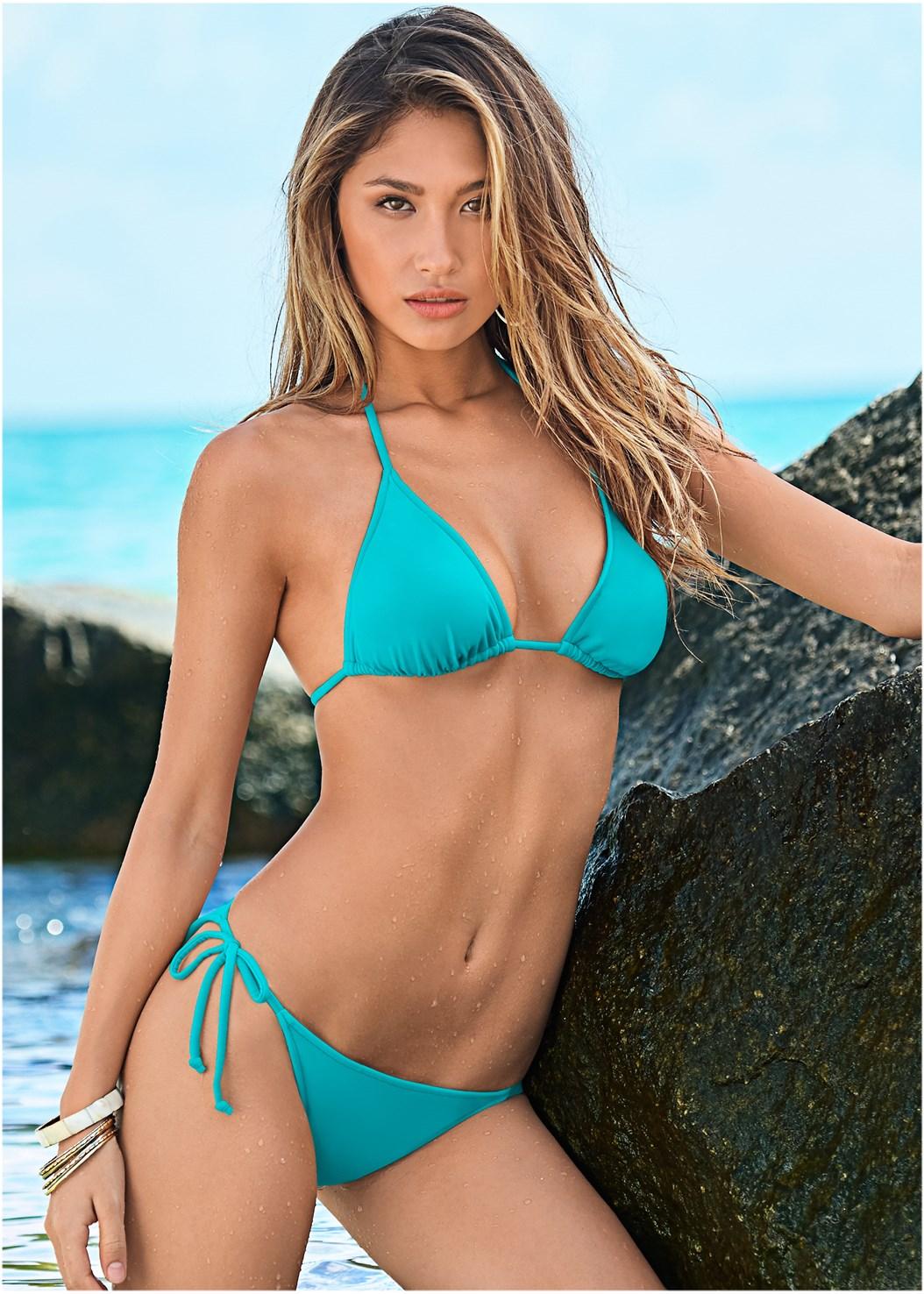 Triangle String Bikini Top,String Side Bikini Bottom,Scoop Front Classic Bikini Bottom