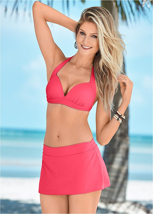 SKIRTED SWIM BIKINI BOTTOM,PERFECTION PUSH UP HALTER,UNDERWIRE HALTER BIKINI TOP,BONITA WRAP HALTER