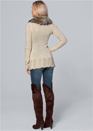 Back View Faux Fur Ruffle Sweater