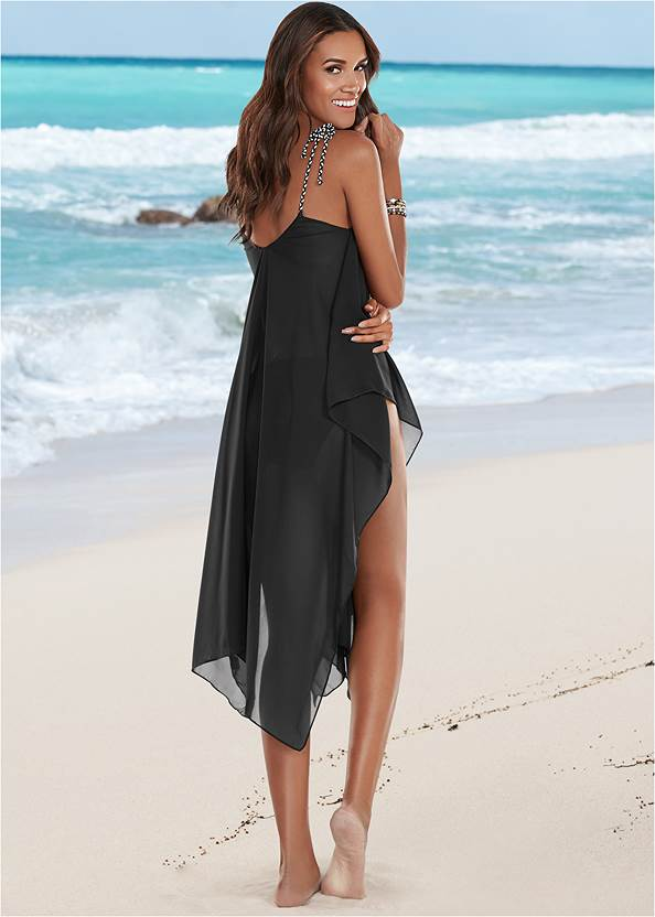 Back view Braided Tie Strap Cover-Up Dress