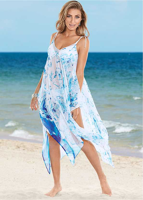 Braided Tie Strap Cover-Up Dress,Full Coverage Bra Top,Scoop Front Bikini Bottom