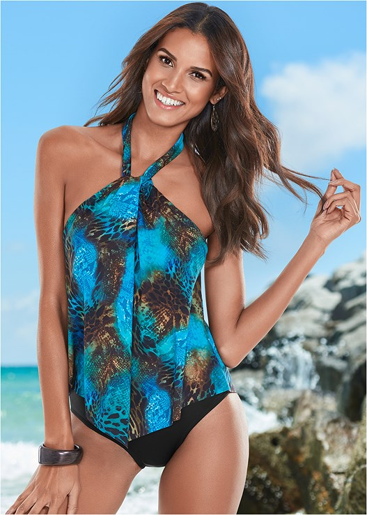 HIGH NECK FLOUNCE ONE-PIECE,FRINGE DETAIL COVER-UP