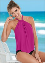 high neck flounce one-piece