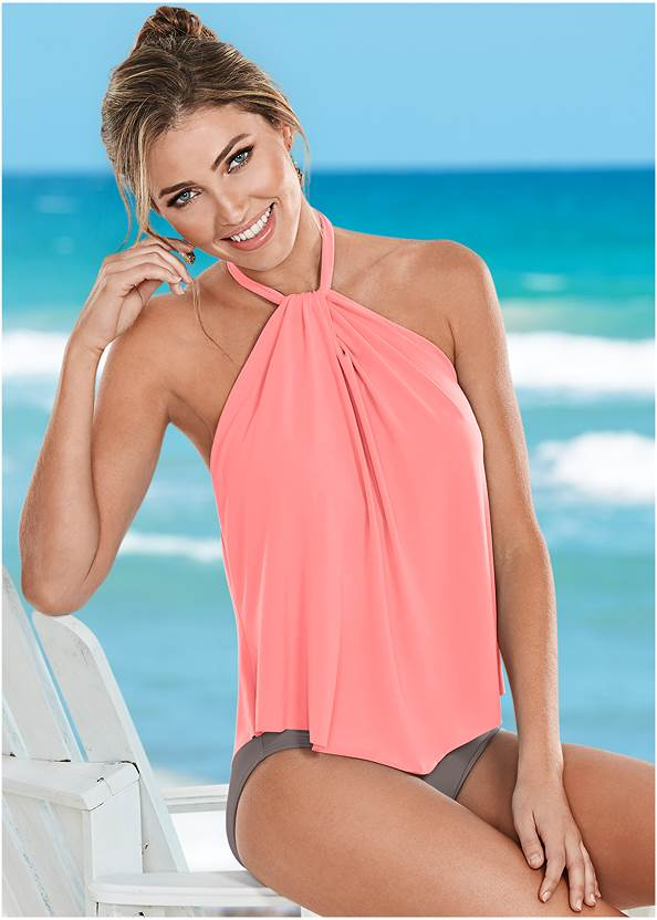 High Neck Flounce One-Piece,Casual Romper Cover-Up,Convertible Straw Tote Bag