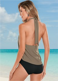 Back view High Neck Flounce One-Piece