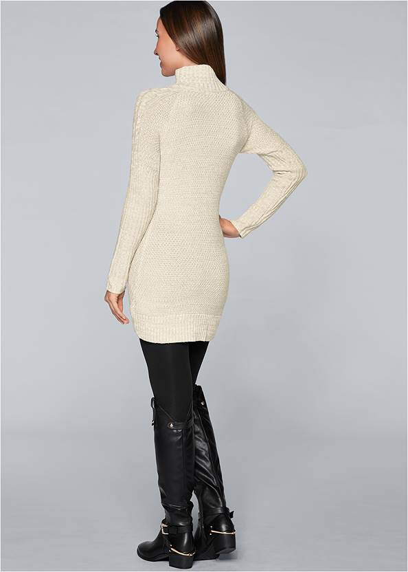 Back view Faux Leather Trim Cardigan