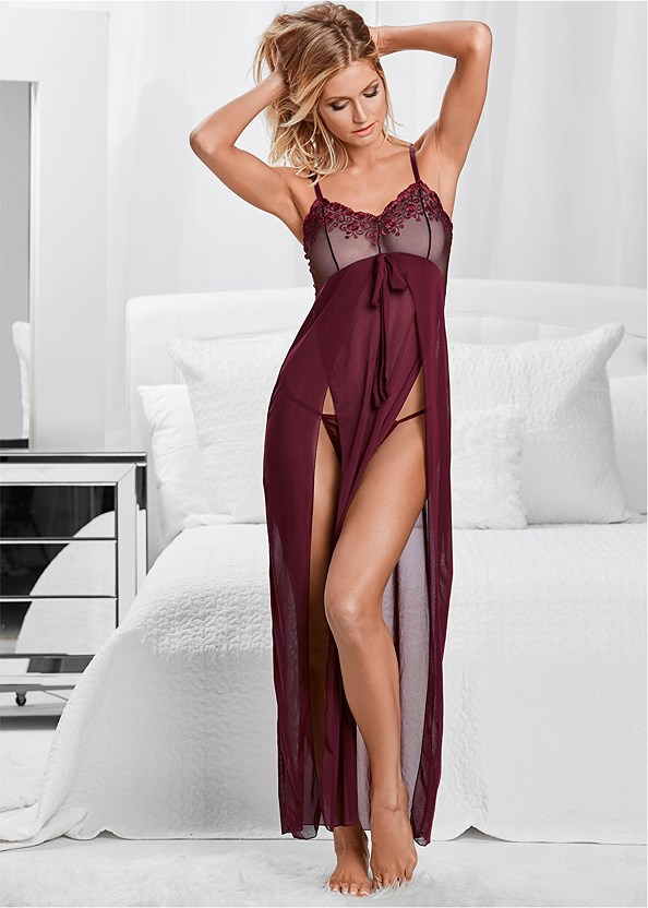 Lace Detail Gown And Panty,Embellished Lucite Heel