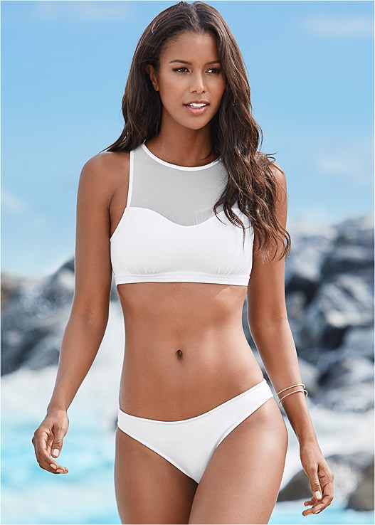 3c2fd35966 Bright White MESH HIGH NECK BIKINI TOP