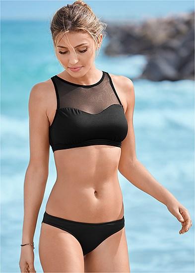 Mesh High Neck Bikini Top