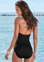 Back view Belted Halter One-Piece