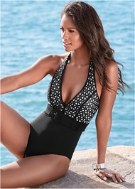 Alternate view Belted Halter One-Piece