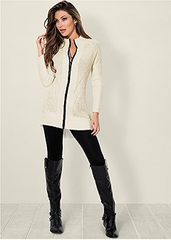 faux leather trim cardigan