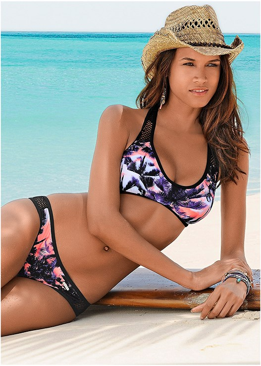 VOLLEY TOP,LOW RISE BIKINI BOTTOM,SCOOP FRONT BIKINI BOTTOM,LATTICE SIDE BIKINI BOTTOM,TIE WAIST BEACH PANT