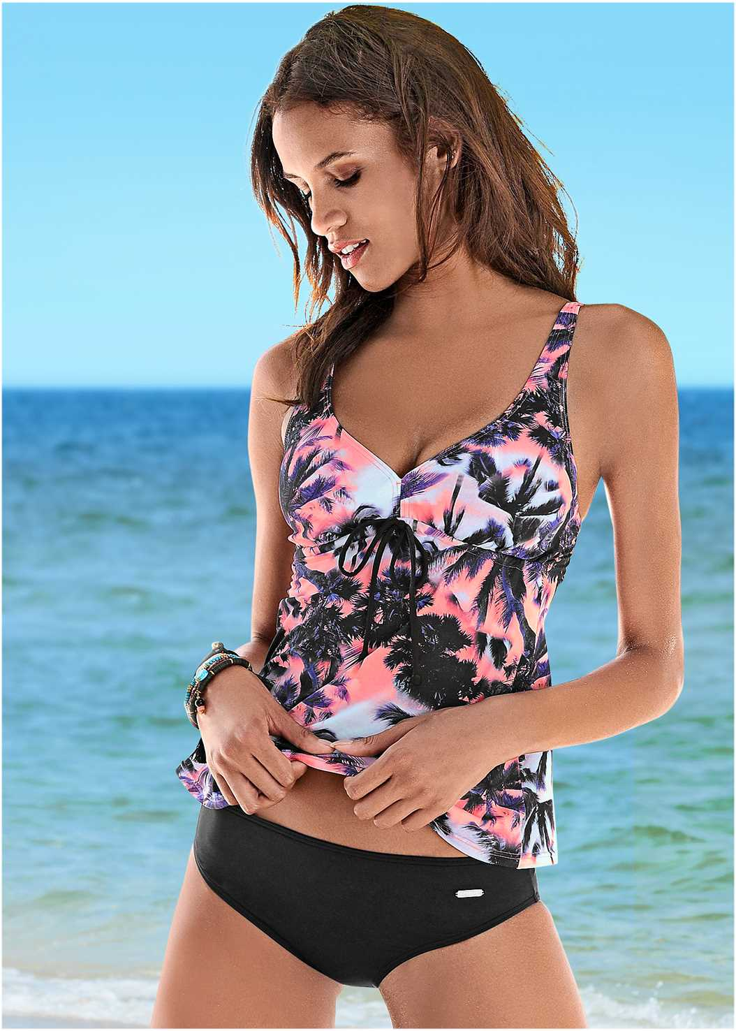 Tropical Tankini Set,Mesh Wrap Skirt
