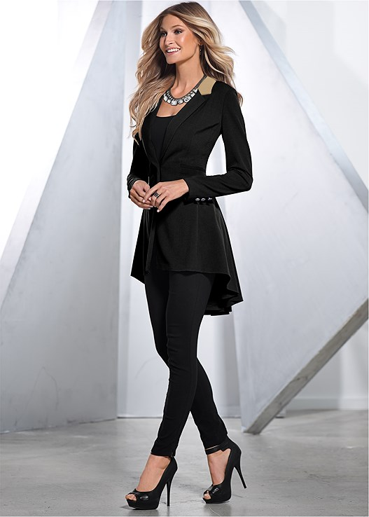 LONG RUFFLE BACK BLAZER,SEAMLESS CAMI,SLIMMING STRETCH JEGGINGS