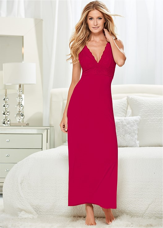 Lace Detail Nightgown in Red | VENUS
